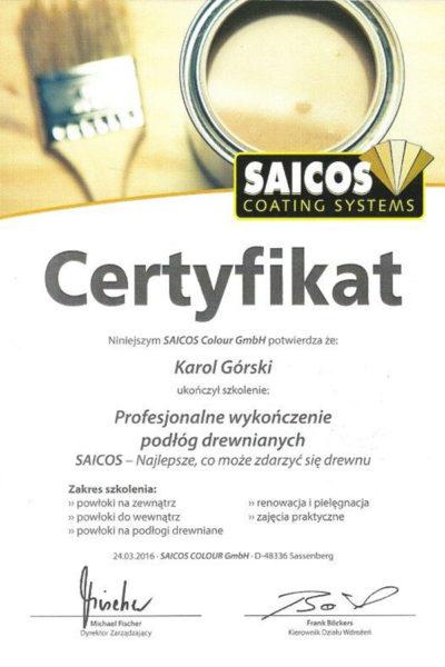 Certyfikat Saicos Karol Górski