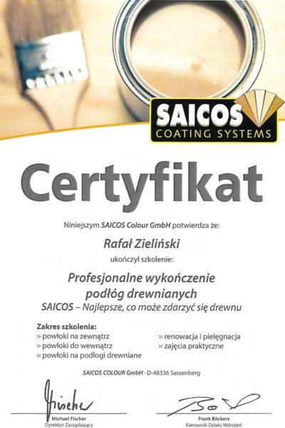 Certyfikat Saicos Rafał Zieliński